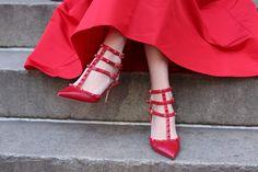Red Valentino rockstud kitten heels