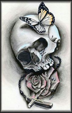 Skull butterfly by stylzbug skull tattoos, new tattoos, sleeve tattoos Skull Butterfly Tattoo, Skull Rose Tattoos, Butterfly Tattoo Cover Up, Butterfly Tattoo On Shoulder, Butterfly Tattoos For Women, Butterfly Tattoo Designs, Body Art Tattoos, Tribal Tattoos, Art Clipart