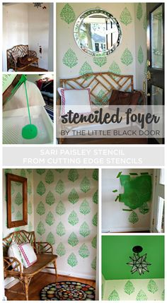 Paint the Sari Paisley Stencil in a bright green color in your foyer for a bold inviting look! http://www.cuttingedgestencils.com/sari-paisley-allover-stencil.html