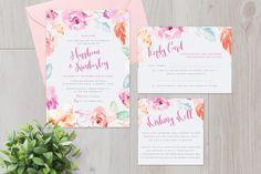 Pastel Floral Invitation Suite. Wedding Fonts. $19.00
