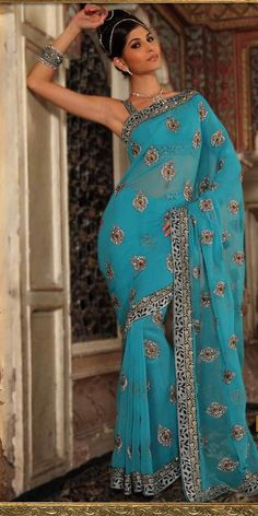 Gorgeous Aqua Blue Embroidered Saree