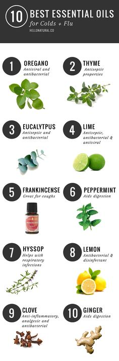 10 Best Essential Oils For Colds & Flu Hello Natural writes:  When cold and flu season strikes, your immune system goes from fighting the occasional battle to being embroiled in an all-out war that can last all winter long, depending on where you live and how many germs you're exposed to. Essential oils are a great natural remedy for colds and flus (among many other things), and how you usethem is up to you. The Chalkboard runs down how to properly inhale and diffuse essential oils, and ...