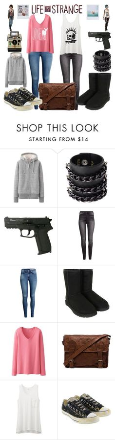 """Life is Strange"" by wonderlandofgeeks ❤ liked on Polyvore featuring Uniqlo, Mia Bag, H&M, UGG Australia, VIPARO, Converse, Polaroid, women's clothing, women and female"