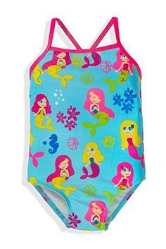3eaf5f3a64 Jump'N Splash Little Girls Mermaid One-Piece Swimsuit w/Water Wings w