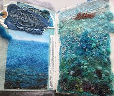 Textile artist photography and mixed media - Carolyn Saxby Textile Art St Ives C . Textile Artist Photography and Mixed Media – Carolyn Saxby Textile Art St Ives Cornwall Mix Media, Mixed Media Art, Carolyn Saxby, Book Art, Creative Textiles, Textiles Techniques, Water Art, A Level Art, Textile Artists