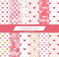 Valentine digital paper, watercolor digital paper, watercolor hearts, hearts paper, valentine's day decorations, damask motif, shabby chic by GiuliaBelfioriGadget