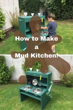 how to make a mud kitchen- super easy DIY tutorial using an old desk and things you have around the home and kitchen. Outdoor play areas How to Make a Mud Kitchen! Diy Mud Kitchen, Mud Kitchen For Kids, Sand Play, Woodworking For Kids, Hippie Home Decor, Outdoor Play, Outdoor Toys, Plein Air, Play Houses