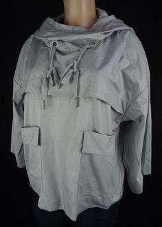 STELLA MCCARTNEY ADIDAS Jacket Sz XS Gray Wide Fit Hoodie