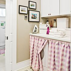 Conceal your washer and dryer with a pretty curtain. Just use a standard spring rod and choose a fabric that coordinates with the adjoining spaces.