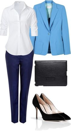 Message: energetic, team player, resourceful How to achieve: Wear business casual Wear cold colours like blues and purples because they are are associated with this industries Wear pants because in this fields male workers are predominant Business Casual Attire, Business Outfits, Business Fashion, Business Women, Business Wear, Casual Professional, Professional Clothing, Business Professional, Professional Development