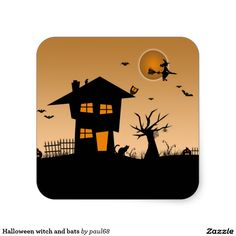 Halloween witch and bats square sticker