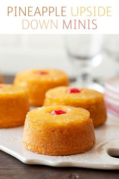 Now you can have a classic pineapple upside down cake all to yourself. These minis are too good to share. They look amazing and will steal the show on any dessert table. They're easy to make and made with Dole Pineapple Slices in Pi Dole Pineapple, Pineapple Desserts, Pineapple Slices, Desserts To Make, Mini Desserts, Delicious Desserts, Yummy Food, Italian Desserts, Individual Desserts