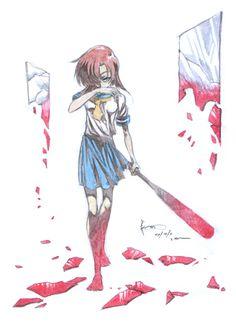 Rena Ryuugu: Broken Glass by Nick-Ian on DeviantArt Yandere Girl, Yandere Anime, Manga Anime, Anime Art, Seras Victoria, Otaku, When They Cry, Digital Art Girl, Dark Anime