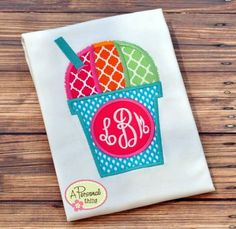 Monogram Snow Cone Applique Shirt by APersonalThing on Etsy, $18.00