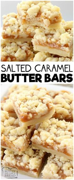 Desserts - Salted Caramel Bar recipe made with a sweet shortbread crust & topped with smooth caramel and sea salt Perfectly indulgent caramel butter bar dessert! caramel dessert butter baking recipe from B 13 Desserts, Delicious Desserts, Yummy Food, Baking Desserts, Holiday Desserts, Baking Cakes, Bread Baking, Healthy Desserts, Healthy Recipes