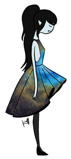 Marceline in Galaxy Dress i wish i had her dress! I think Marceline is my fav Cartoon Adventure Time, Adventure Time Marceline, Adventure Time Art, Adveture Time, Land Of Ooo, Vampire Queen, Jake The Dogs, Bubbline, Billdip