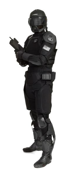 Cyberpunk / Nanotechnology Combat Armour 2, future soldier, future warrior, post-apocalyptic, helmet, future cop, future police, black clothing, weapon, gun, exoskeleton, military