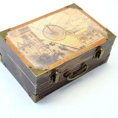 Treasures Trinket Box,Cottage Rustic Decoupage Wooden Box
