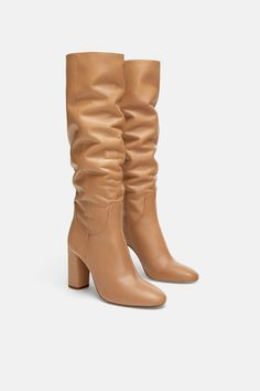 321ce00f28a Image 3 of HIGH HEELED LEATHER BOOTS from Zara Camel High Heels