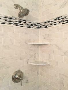 Tiled shower with Quartz shelves Shower Niche, Wall Lights, Quartz, Shelves, Bathroom, Design, Home Decor, Shelving, Bath Room