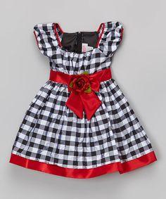 Loving this Red & Black Gingham Puff-Sleeve Dress - Toddler & Girls on #zulily! #zulilyfinds