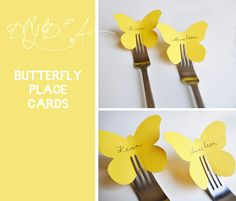 Wedding DIY Craft Idea: Yellow Butterfly Place Cards - Pocketful Of Dreams