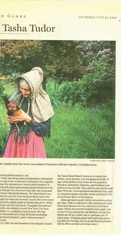 Illustrator, Tasha Tudor holding pet rooster Chickahominy