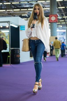 "Last month I was in Paris for on the biggest glasses and sunglasses fair in the world ""SILMO""- with my sponsor VISILAB. Xenia Tchoumitcheva, Big Glasses, Trending Sunglasses, 2015 Trends, Bell Bottom Jeans, Skinny Jeans, Chic, Pants, Hot Girls"
