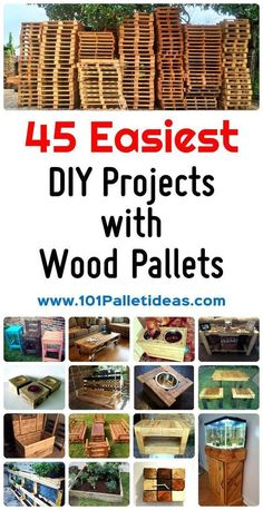 Pallet Designs 45 Easiest DIY Projects with Wood Pallets, You Can Build - Easy Pallet Ideas - We are going to share with you almost 45 creative wood pallet projects and ideas ranging from indoor furniture and decor to outdoor improvement projects Pallet Exterior, Pallet Ideas Easy, Pallett Ideas, Wood Ideas, Rustic Pallet Ideas, Palette Diy, Wood Palette Ideas, Wooden Pallet Projects, Diy Projects With Pallets