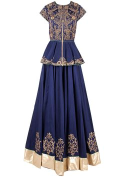 Blue and gold peplum lehenga set by J BY JANNAT. Shop now at perniaspopupshop.com #perniaspopupshop #peplum #Lehengaset #blue #indian #exotic #womensfashion #love #jewellery #happyshopping #exquisite #shopnow