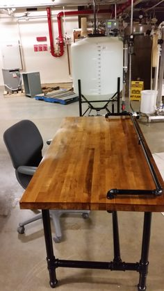 Reclaimed butcher block workbench top  converted to a desk.