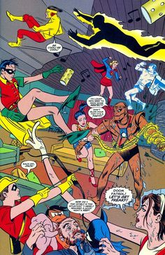 Mike Allred SOLO; Dig it baby--it's the Teen Titans and the draggin' oldies, the Doom Patrol!