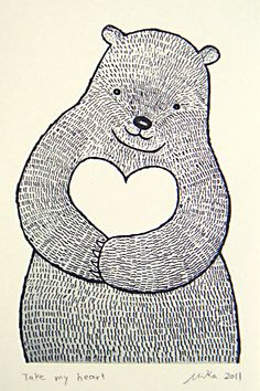 Bear Ink Drawing Print Black and White Wall Decor Big Bear with Heart Love…