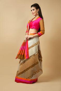Handloom saree weaved in kora silk. Item number W15-131