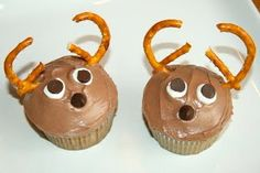 Reindeer Cupcakes - would be cute with red noses! :)