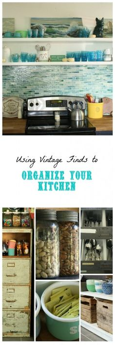 Organized Kitchen using vintage pieces for storage- jars, crates, industrial drawers, and more!