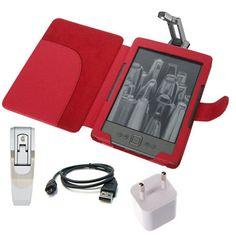 Leder Tasche Etui Case Cover Schutz Hülle rot für Amazon Kindle 4 set leselampe