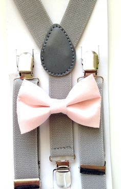Light gray suspenders and light pink bow tie set baby boys boy fits ages 6 months - 13 years old