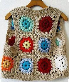 Vintage Handmade Crochet Granny Squares Bright Colorful Vest Vintage Handmade Crochet Granny by Point Granny Au Crochet, Cardigan Au Crochet, Crochet Baby Jacket, Gilet Crochet, Crochet Stitches, Poncho Sweater, Baby Poncho, Crochet Beanie, Pull Crochet