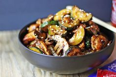 Panda Express Mushroom Chicken in just 20 minutes! You& be sitting down to dinner faster than you could drive there and pick some up and come home! Lightly sauteed zucchini and mushrooms in a soy ginger and garlic sauce. Mushroom Zucchini Recipe, Mushroom Recipes, Sauteed Zucchini, Chicken Zucchini, Healthy Zucchini, Panda Express Mushroom Chicken, Chicken Mushroom Stir Fry, Turkey Recipes, Vegan Recipes