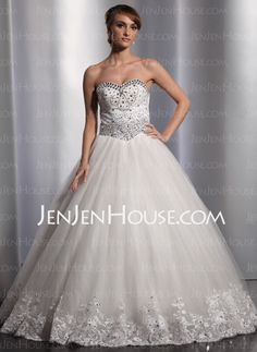 Wedding Dresses - $200.00 - A-Line/Princess Sweetheart Floor-Length Satin Tulle Wedding Dresses With Lace Beadwork (002014818) http://jenjenhouse.com/A-line-Princess-Sweetheart-Floor-length-Satin-Tulle-Wedding-Dresses-With-Lace-Beadwork-002014818-g14818