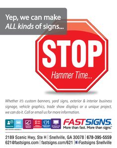 Did you know that not only does FASTSIGNS do ALL kinds of signs...but we also design those signs to get noticed! More visibility = More revenue. If you are a business looking to make more $$$$, give us a call. 678-395-5559 #businesstobusiness #profits #graphicdesign