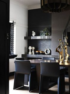 Impressive Black Interior Design With Gold And Orange Accents | DigsDigs