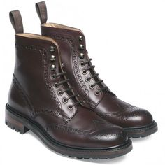 Cheaney Tweed C Wingcap Brogue Country Boot in Burgundy Calf Leather