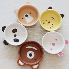 Special export Japanese ceramic tableware cute cartoon animal Bowl the Kawaii baby children Bowl suit-ZZKKO // tazas animales Ceramic Tableware, Ceramic Bowls, Ceramic Pottery, Ceramic Art, Kitchenware, Cerámica Ideas, Cute Cartoon Animals, Japanese Ceramics, Japanese Bowls