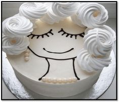 simple face with meringue or butter cream curls & pearl necklace, earrings Big Cakes, Fancy Cakes, Cute Cakes, Pretty Cakes, Beautiful Cakes, Amazing Cakes, Buttercream Rosette Cake, Cakes For Women, Painted Cakes