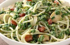 Spaghetti met kip en spinazie