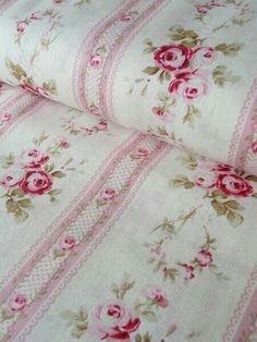 Shabby Chic Bedding,mPink Striped with Roses
