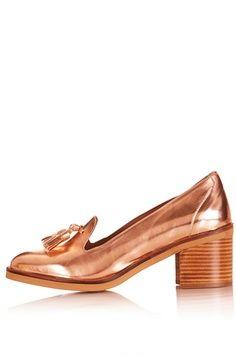 Metallic Loafer Heels