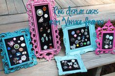 Ring displays out of vintage frames tutorial! – Ring Holder – Ideas of Ring Hold… Ring displays out of vintage frames tutorial! – Ring Holder – Ideas of Ring Holder – Ring displays out of vintage frames tutorial! Ring Displays, Craft Show Displays, Craft Show Ideas, Vendor Displays, Paparazzi Display, Paparazzi Jewelry Displays, Paparazzi Accessories, Jewellery Storage, Jewelry Organization